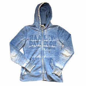 Harley Davidson Space dyed Blue Full Zip Hoodie